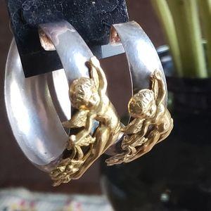 Vintage Large Hoop earrings with Angels